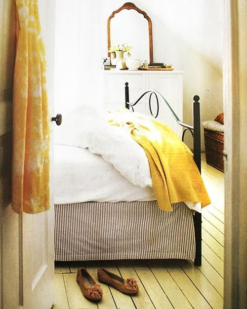 Black, White, Yellow BedroomGuest Room, Yellow Bedrooms, Beds Skirts, Black White, White Bedrooms, Beds Frames, Design Kitchens, Stripes, Iron Beds