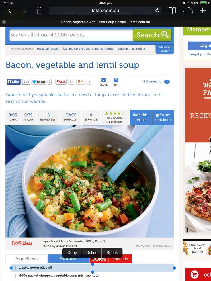 Bacon, veg and lentil soup