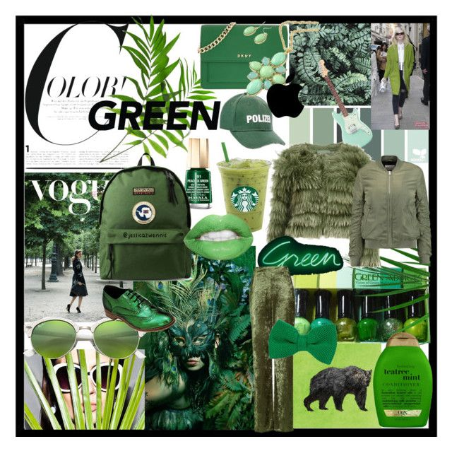 Color! #GREEN 💚 by jessicazwennis on Polyvore featuring polyvore, fashion, style, Alice + Olivia, W118 by Walter Baker, Love, DKNY, Napapijri, Vetements, Ray-Ban, 40 Colori, Mavala, Jessica Russell Flint, Organix and clothing