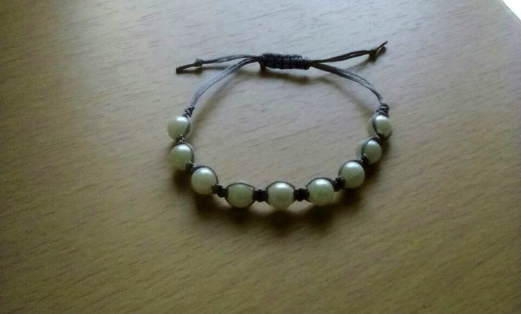 Grey macrame bracelet with white pearls!!