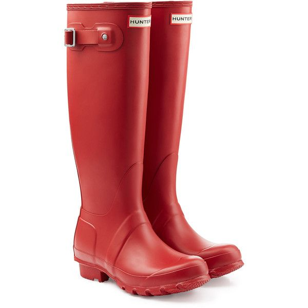 Hunter Tall Wellington Boots (1,840 MXN) ❤ liked on Polyvore featuring shoes, boots, red, rain boots, red knee high boots, red boots, wellington boots and rubber boots