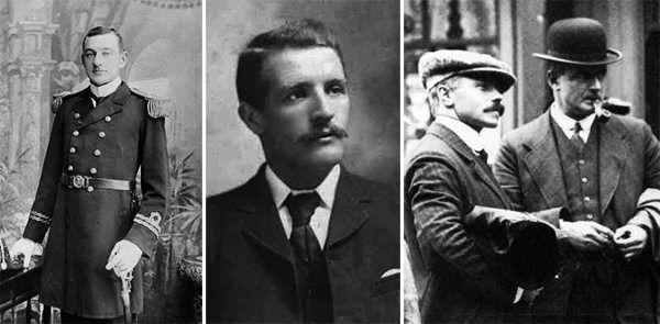 Image showing, left-to-right, Chief Officer Lt. Henry Tingle Wilde, First Officer Lt. William McMaster Murdoch, Third Officer Herbert John Pitman, Second Officer Charles Herbert Lightoller