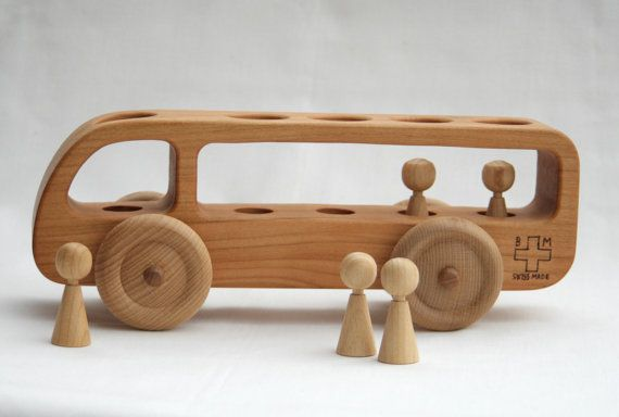 Dear customers, Please note that our processing time for the wooden toys is now approximately 2 weeks. All orders made after the 15th December will be delivered in January.  Our wooden bus was handcrafted from solid reclaimed cherry wood. This wooden car has a beautiful brushed finish, you can feel and see the texture of the wood. It is very pleasant to touch. There are 5 wooden figurines that can be easily removed and placed back in.  This wooden toy car will make a beautiful present and is…