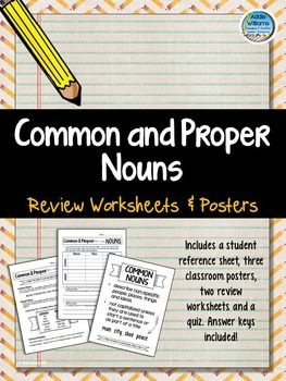 Common and Proper Nouns - worksheets, posters and a quiz! ($)