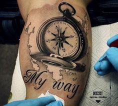 Hyperrealism Compass Tattoo by Vladimir Drozdov