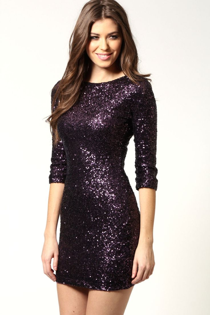 Check out the ultimate wow dress! #christmas #party #wow Olivia Zip Back Sequin Long Sleeve Dress £35.00 www.boohoo.com