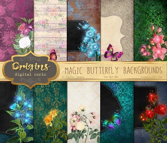 Magic Butterfly Backgrounds by Origins Digital Curio on @creativemarket
