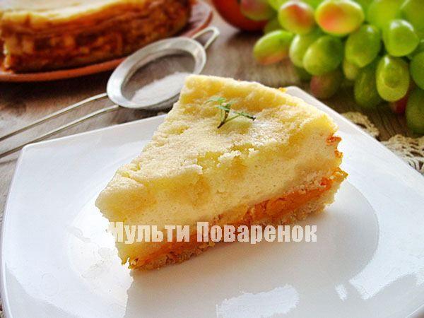 Насыпной пирог с тыквенно-творожной начинкой   Мультиповаренок