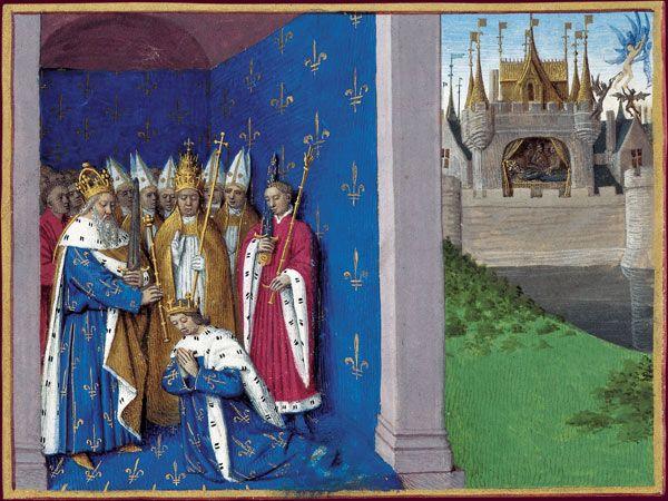 En 781, à Pâques, Charlemagne fait couronner son fils, Louis Ier le Pieux, par le pape Hadrien Ier à Rome. En arrière-plan à droite, Charlemagne meurt dans son palais d'Aix-la-Chapelle, le 28 janvier 814. Anges et démons se disputent son âme. Charlemagne a restauré l'empire romain d'Occident, mais ses successeurs auront du mal à le conserver dans son intégrité. En transmettant de son vivant son titre d'empereur à son fils aîné Lothaire dont il fait son principal héritier, Louis le Pieux…