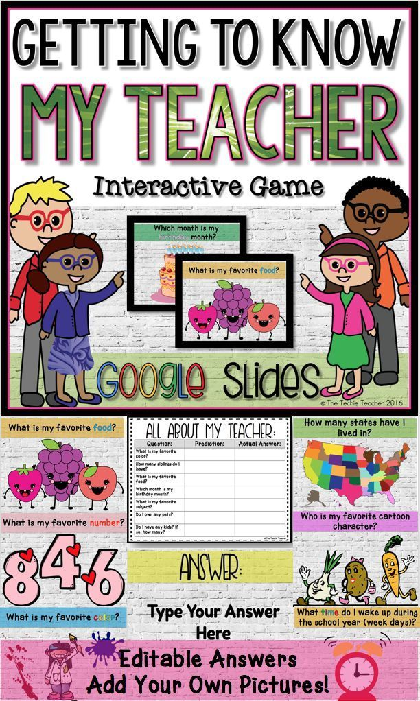 Getting to Know My Teacher EDITABLE game in Google Slides. Fun game for students to get to know YOU at the beginning of the year. Comes in both PowerPoint & Google Slides