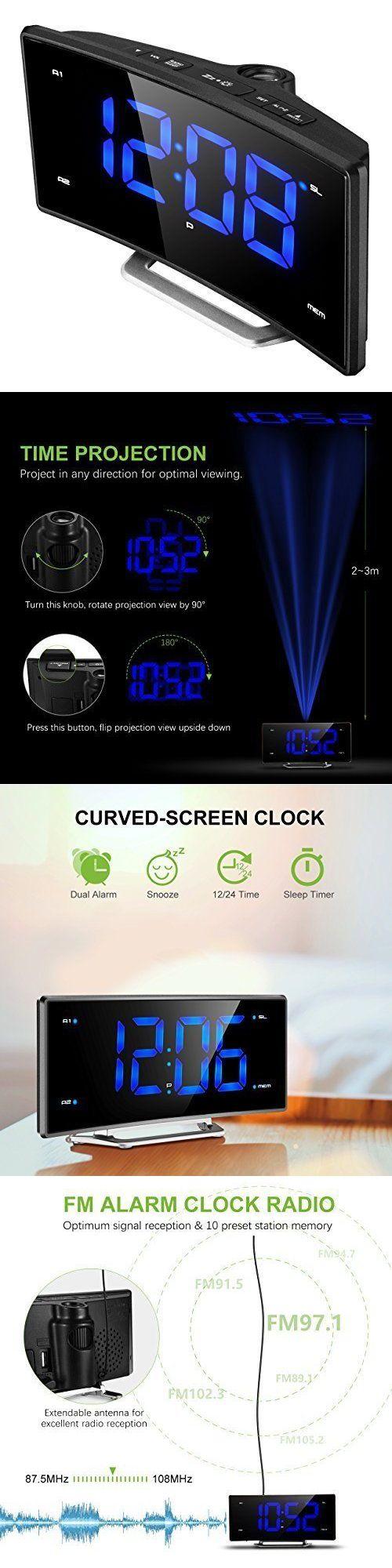 Digital Clocks and Clock Radios: Projection Alarm Clock Curved Screen Digital Fm Radio Led Display Usb Charging -> BUY IT NOW ONLY: $49.99 on eBay!