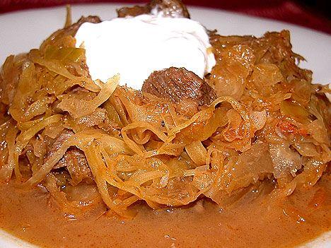 my comfort food: szekelykaposzta - hungarian sauerkraut & pork stew with sour cream and Hungarian spicy sausage
