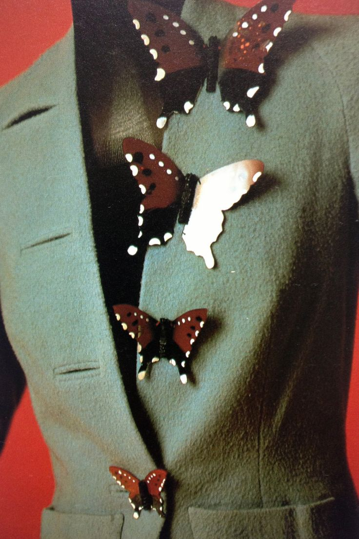 ~Schiaparelli butterfly buttons jacket blue green fashion couture designer 40s color photo print ad museum