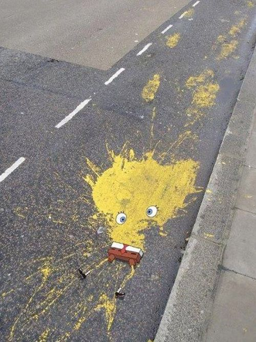 splat: Poor Spongebob, Stuff, Sponge Bobs, Spongbob, Street Art, Funny, Things, Spongebob Squarepants, Streetart