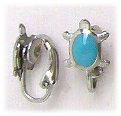 Simply Whispers hypoallergenic and nickel free Jewelry earrings Stainless Steel clip on Turtle With 6mm by 4mm Turquoise