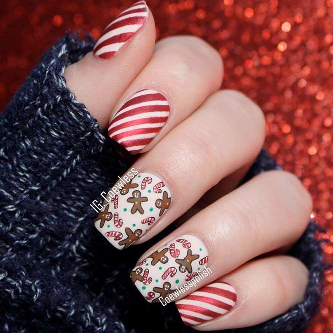 Popular Ideas of Christmas Nails Designs To Try in 2017 ★ See more: https://naildesignsjournal.com/christmas-nails-designs/ #nails