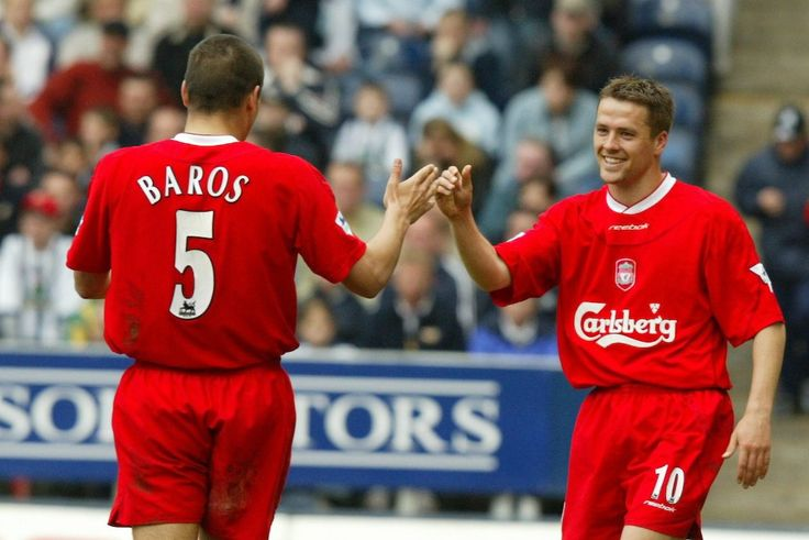 Liverpool's Michael Owen celebrates his second goal, the Reds' third, with Milan Baros as West Bromwich Albion's goalkeeper Russel Hoult looks on during the Premiership match at the Hawthorns. (Pic by David Rawcliffe/Propaganda)