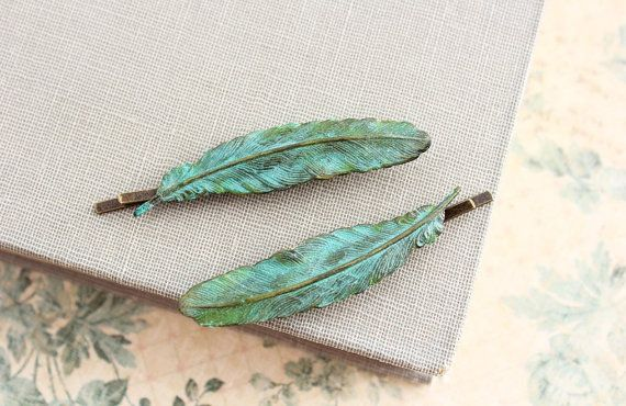 Feather Bobby Pin Verdigris Patina feather Hair by apocketofposies, $32.00
