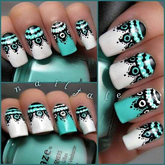 Turquoise nail art   nails-v   Pinterest   Lace nails ...