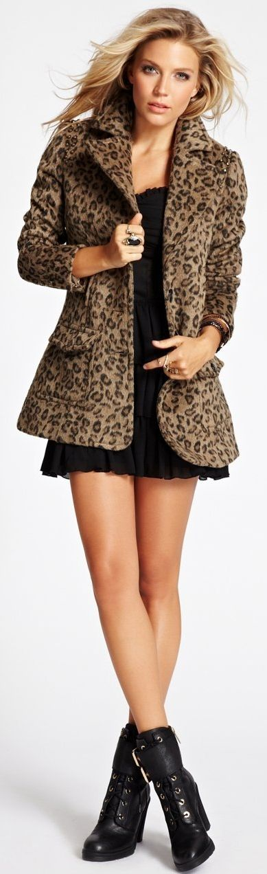 GUESS Women's Long-Sleeve Studded Leopard-Print Jacket➰