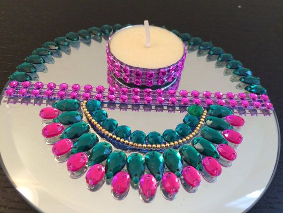 Mirror Kundan Rangoli / Diwali Diya / Table decor/Mirror Candle Holder & The 57 best Decoration Of pooja ki Thali images on Pinterest ...