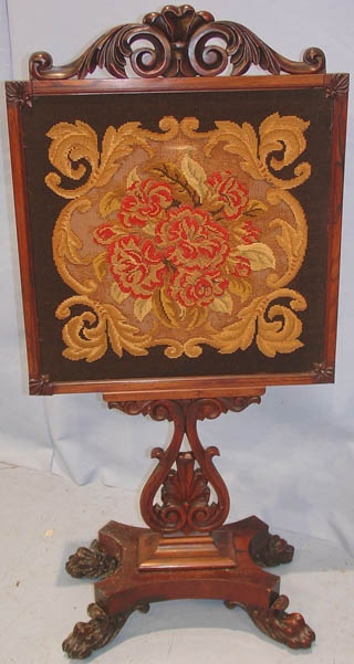 Rosewood, Victorian, Needlepoint Fire Screen
