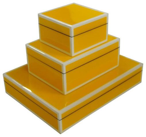 Lacquered Boxes, Poppy Yellow contemporary storage boxes