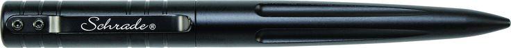 Schrade SCPENBK Tactical Pen. CNC Machined 6061 T6 Black Aluminum, Pen Cap Features Pocket Clip. 1 Black Schmidt P900M Parker Style Ball Point Ink Cartridge. Overall Length: 5.7 inch (14.5 cm) Weight: 0.06 pounds. Matte black finish. Screw on and off cap.