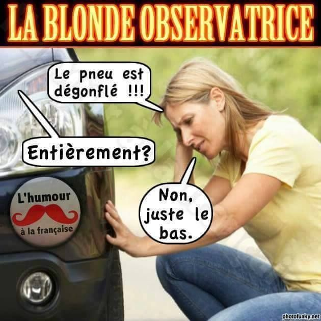 Le Pneu Est Degongle Entierement Non Juste Le Bas Mdr Lol Blague Blonde Blagues Blondes Drole Drole Blague De Blonde Humour Vacances Humour