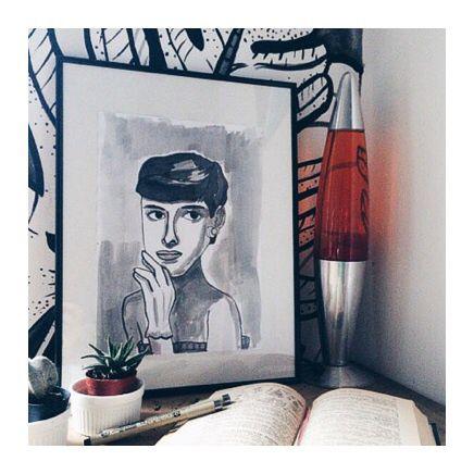 Audrey Hepburn breakfast  #bianicon #audrey #black #drawingink