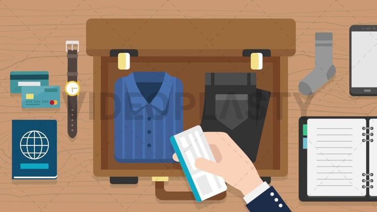 Download: http://ift.tt/2pYmqqM  A top view scene of someone packing a brown suitcase with a blue shirt and black jeans. Right hand appears holding a ticket. The scene happens on a wooden background and around the suitcase there is also a passport a watch credit/debit cards a smartphone sock and an agenda.  Includes one version:  IN / OUT animations  Clip Length: 10 seconds Loopable: No Resolution: FullHD Format: Quicktime MOV  For more premium quality royalty free stock animation elements…