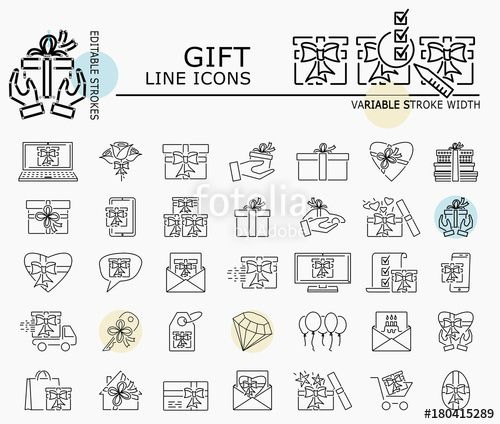 "Download the royalty-free vector ""Gift line icons with minimal nodes and editable stroke width and style"" designed by dropix at the lowest price on Fotolia.com. Browse our cheap image bank online to find the perfect stock vector for your marketing projects!"