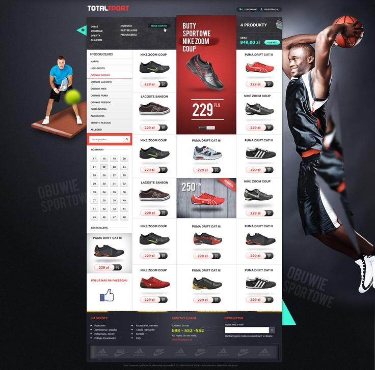 Web Design Sport shop - like the background figures