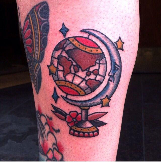 Traditional tattoo globe and moon tattoo by mike mendes for Traditional moon tattoo