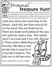 First Grade Pronoun Worksheets for Summer