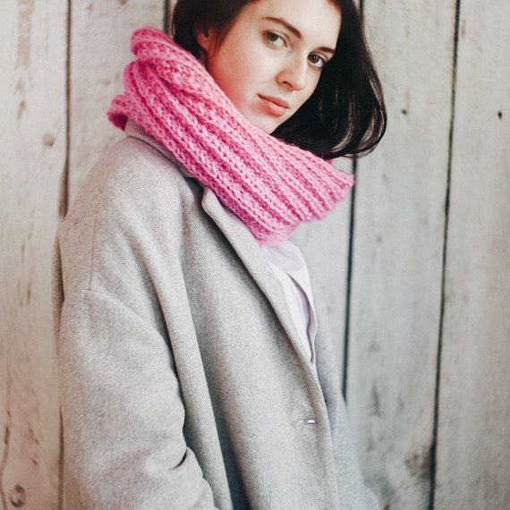 Big pink snood knitted snood scarf infinity scarf от LYMIclothes
