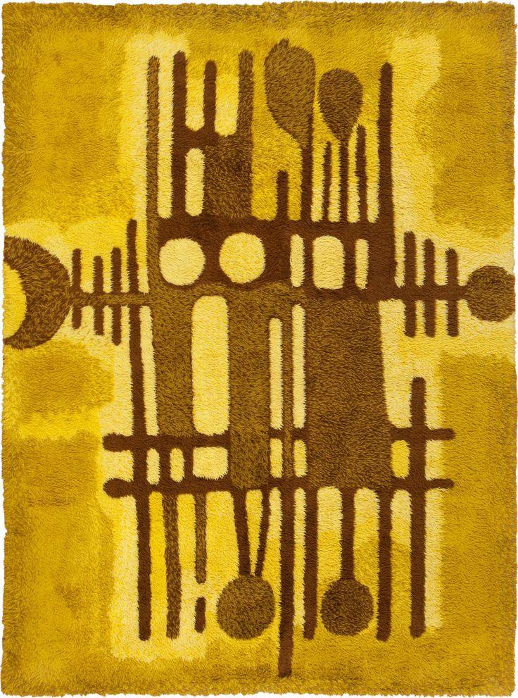 Vintage Rya Scandinavian Rug.