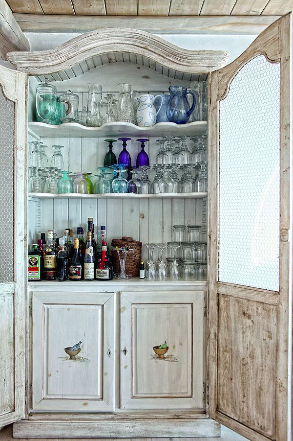 beach house liquor cabinet...switch to a coffee cabinet