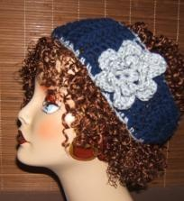 CROCHET NAVY BLUE WITH GRAY FLECK ACCENTS HEADWRAP HEAD BAND WITH FLOWER $12.99