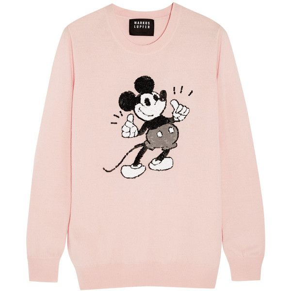 Markus Lupfer + Disney® Thumbs Up Vintage Mickey sequined merino wool... ($450) ❤ liked on Polyvore featuring tops, sweaters, shirts, sweatshirt, pink, embellished tops, pastel shirts, vintage shirts, pink sequin shirt and cartoon shirts