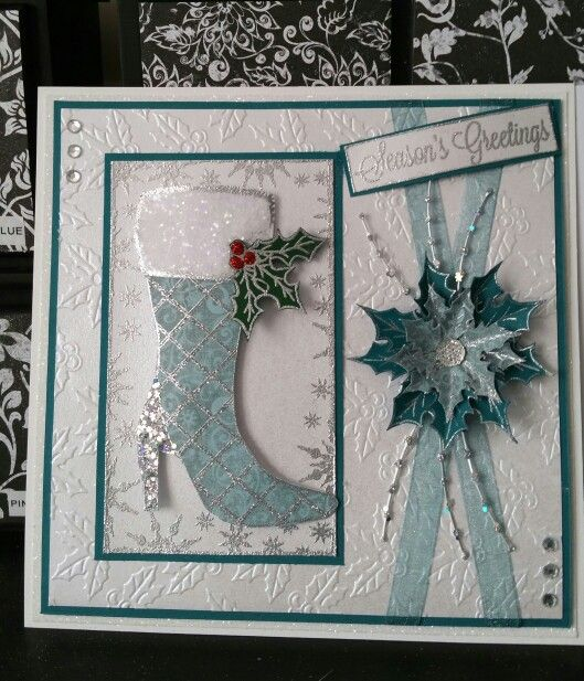 Christmas Card - Essential products for this project can be found on Crafting.co.uk - for all your crafting needs. - Teal xmas using stamps from chloe's creative cards