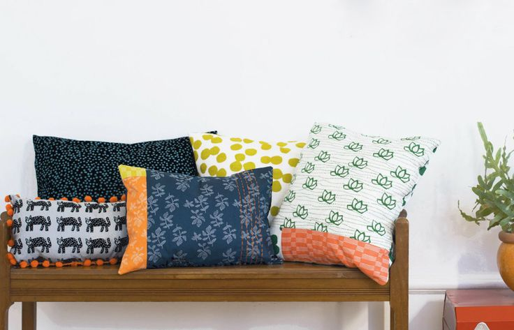 pillows sewn from Lotta Jansdotter's Lucky collection for Windham Fabrics
