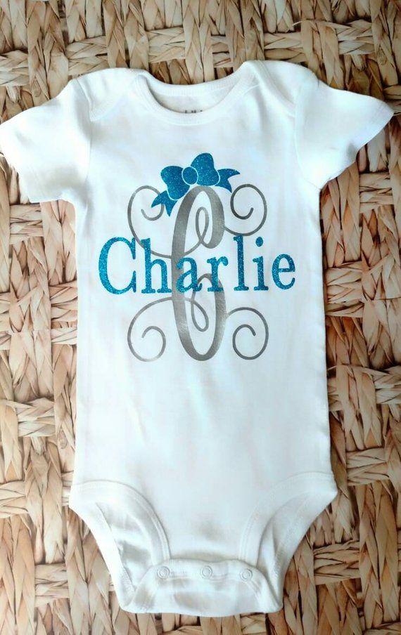 baby girl onesie monogrammed