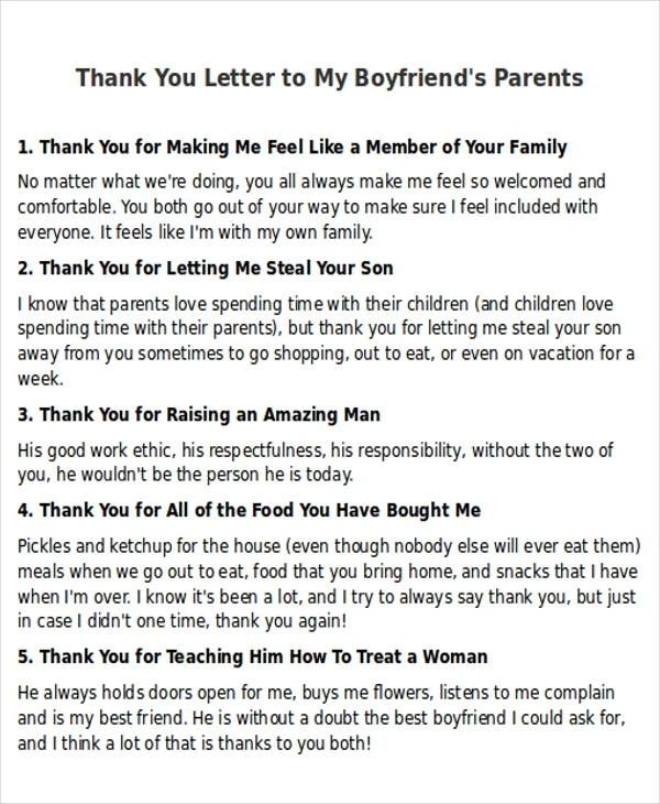 Sample Thank You Letter To My Boyfriend  5+ Examples In Word, Pdf