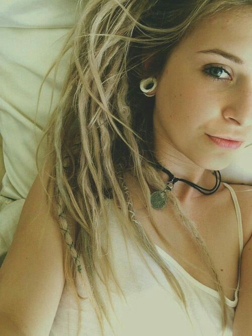 Soft looking partial dreads on a pretty white girl