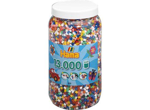 HAMA Midi burk med 13 000 blandade pärlor A