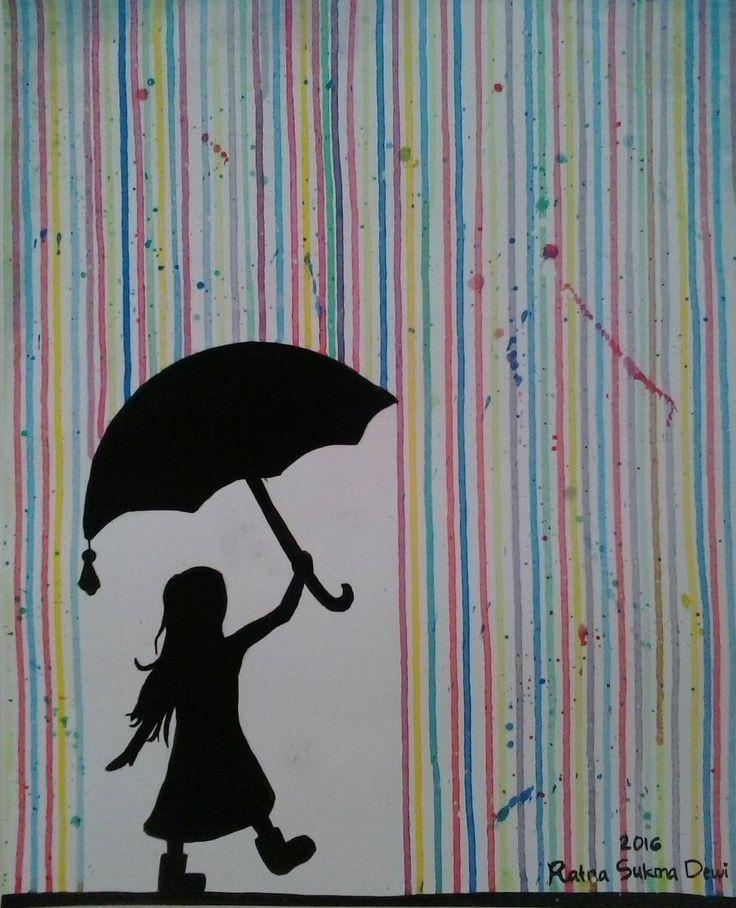colorful rain sometimes u will see the rainbow after rain. but now the rainbow is the rain itself  #latepost #art #painting #acrylic #ubud #7aurae