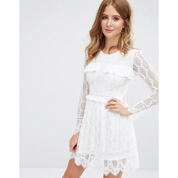 Millie Mackintosh Lace Dress (£130) ❤ liked on Polyvore featuring dresses, white, flutter-sleeve dress, ruffle dress, lace dress, tall dresses and white lace cocktail dress