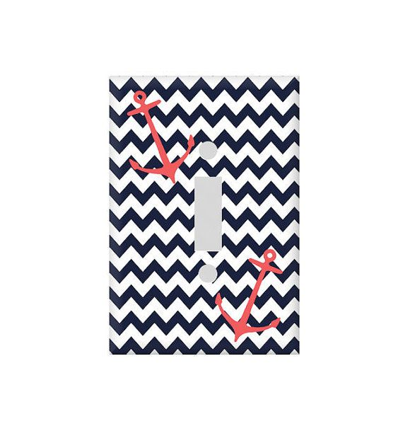 Switchplate Cover   Nautical Chevron Anchor   Bathroom Decor   Custom Colors on Etsy   6 75. 1000  ideas about Anchor Bathroom on Pinterest   Anchors  Nautical