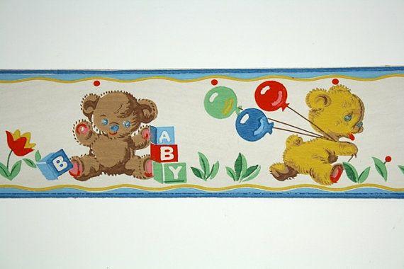 Full Vintage Wallpaper Border - TRIMZ - Children's Teddy Bear Toys, Nursery Border, Playful Bears with Balloons and Blocks - 3.5 inch